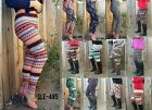 Aztec Tribal Chevron Print High Waist Soft Knitted Leggings One Size Pants SLE