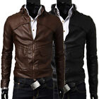 Fashion Men Two Colors Zipper Slim Fit  Outwear Handsome Biker Jackets Coats