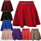 Labreeze Ladies Stretch Waist Belted Skater Plain Flippy Flared Short Skirt