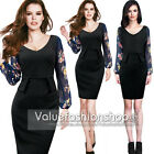 Womens Pinup Colorblock Flower Printed Peplum Party Wear To Work Shift Dress 586