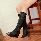 PLUS SIZE Lady Tall Knee High Gladiator Womens PEEP TOE Sandals Wedge Heel Shoes