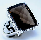 Smoky Quartz Chunky 925 Sterling SILVER Ring Smokey Rings Size 5 to 12; K to Y