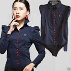 Button Front Shirts Bodysuit  Long Sleeve Blouse Top - S-8 M-10 L-12 XL-14