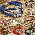 Stylish Shine Bracelet Magnetic Bead Crystal Buckle Leather Wrap Cuff Bangle Hot