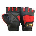 WEIGHT LIFTING PADDED LEATHER GLOVES SPORTS FITNESS BODY BUILDING TRAINING - 305