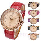 Womens Ladies Crystal Golden Case Simple Style Quartz Wrist Watch Leather Band
