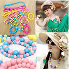 New Toddlers Girls kids Cartoon Colorful Bead Bracelet Necklace Jewelry Set Gift