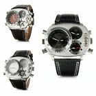 OULM Military Army 3 Time Zones Movements Quartz Mens Wrist Watch Leather Black