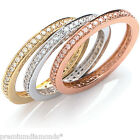 NEW 3 x Diamond Encrusted Stacking Rings 9ct Rose Yellow & White Gold + Box