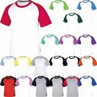 Mens Short Sleeve Raglan Baseball T-Shirt Crew Neck Plain Sport Health Team Tee