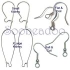 Surgical Steel Earwires Earrings Hypoallergenic Kidney French Hook Small XLarge