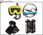 Scuba Mask Snorkel Flippers Tanks Swim Dive living floating charm window lockets