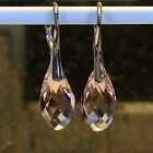 925 Solid Sterling Silver Teardrop Crystal 20mm Leverback Earrings  18 Options