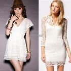 Womens Lace Floral Long Sleeve Ladies Sexy V-neck Bodycon Party Evening Dress