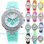 Geneva Charm Bling Crystal Ladies Women Girl Jelly Silicone Quartz Wrist Watch