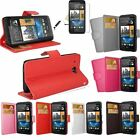 PU Leather Plain Wallet Stand Flip Case Cover For HTC Desire X/500/601+SP&Stylus