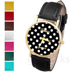 Women's Vogue Popular Simple Polka Dot Dial Wrist Watch Analog,Leather Band