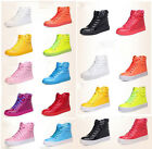 Womens High Top Leather candy Fashion Sneaker Skateboard Plimsoll Athletic Shoes