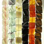 A Strand  Carnelian Natural Agate Gemstone Suqare Loose Beads 15'' Inches