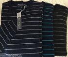 NWT Davis Squire Men merino wool blue black gray striped sweater crewneck