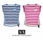Armani Exchange Authenticity Women Summer Striped T Shirt Cap Sleeve Folded