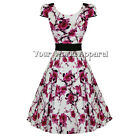 H & R LONDON WHITE PINK FLORAL DRESS PINUP SWING 1950s VINTAGE ROCKABILLY RETRO