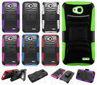 For LG Optimus Exceed 2 VS450 Hybrid Combo Holster KICKSTAND Rubber Cover