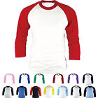 Mens Womens Raglan T-Shirt Baseball Jersey 3/4 Sleeve Sports Team Round Tee New image