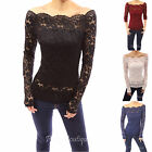 PattyBoutik Floral Lace Scallop Off Shoulder Long Sleeve Fitted Sheer Blouse Top