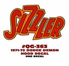 "QG-363 1971-72 DODGE DEMON - ""SIZZLER"" HOOD DECAL - ONE MULTI COLOR DECAL"
