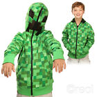 New Minecraft Creeper Premium Zip-Up Hoodie Youth XS S M L & L Boy Kids Official