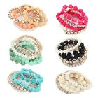 Pearl Rose Flower  Multilayer Charm Elastic Bracelet Accessories Jewelry #K8