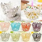 12X Butterfly Pattern Hollow Out Cake Paper Wraps Cupcake Wrappers Wedding Decor