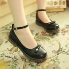 New Womens Retro Bow Tie Round Toe Ankle Strap Flats Casual Oxford Brogue Shoes