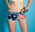 New Women European USA Flag Frayed Jeans Super Low Waist Mini Sexy Denim Shorts