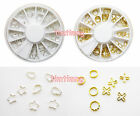 Golden Silver Metal 3D Hollow Pattern Wheel For Design Nail Art Tips Decoration