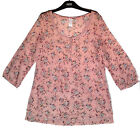 M & S NEW PINK FLORAL GYPSY SILK BOHO TUNIC TOP SIZE 12  BNWOT RRP=£29.50