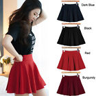 Womens Stretch Waist Pleated Jersey Plain Skater Flared Mini Skirts