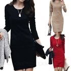Bodycon Womens Vintage Long Sleeve Wiggle Dress Work Ladies Pencil Dresses Size