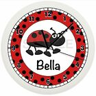 RED AND BLACK LADYBUG NURSERY WALL CLOCK PERSONALIZED GIFT WALL POLKA DOTS BUGS