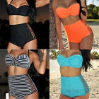Women Sexy Neon Coral Bikini Bustier Top High Waisted Panties Spandex Swimsuit