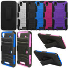 For ZTE Max N9520 Rugged Hybrid Kickstand Holster Rubber Soft Hard Case Cover