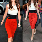 Hot Sell Womens Stitching Hip-Wrapped Pencil Dress Sleeveless Stylish Slim Skirt