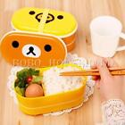 High Heat Resistance Double Layer Tiers Chopsticks Bento Lunch Box Container