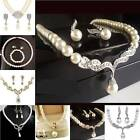 Off-White Ivory Pearl Silver Gold Bridal Jewellery Set Wedding Necklace Earrings