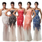 2014 Long Lace Evening Formal Bridesmaid Wedding Ball Gown Prom Party Dresses