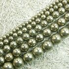 Natural Iron Pyrite Gemstone Round Beads 16'' 2mm 3mm 4mm 6mm 8mm 10mm 12mm