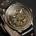 Shenhua Bronze Automatic Mechanical Mens Skeleton 2 Colors Leather Wrist Watch