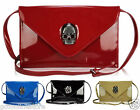 Ladies Skull Stud Patent Leather Style Clutch Bag Purse Handbag Evening Bags