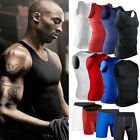 Men's Sports Compression Under Base Layers Tights Sleeveless Shirts Vest Shorts